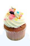 чашка торта цветастая Стоковая Фотография