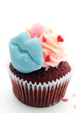 чашка торта цветастая Стоковые Изображения