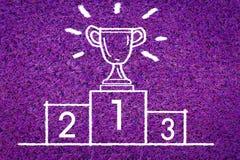 Чашка трофея золота, серебра и бронзы на призовом подиуме Стоковые Фото
