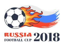 Чашка 2018 футбола России изолированная на белой карточке иллюстрация штока