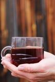 Чашка чаю в его руках Стоковая Фотография RF