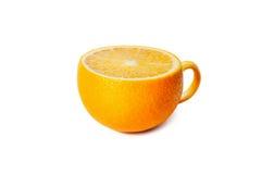 Чашка чаю в форме апельсина изолированного на белизне Стоковая Фотография RF