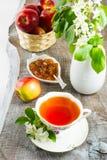 Чашка чаю и варенье яблока на деревенском деревянном столе Стоковые Фото