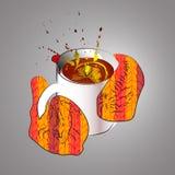 Чашка чаю или холодный вечер Иллюстрация вектора