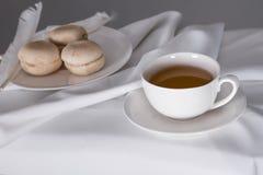 Чашка чаю и печенья на плите Стоковое Фото