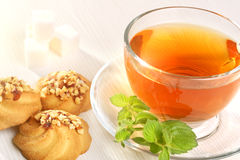 Чашка чаю и печенья Стоковые Изображения RF