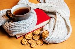Чашка чаю, книга и печенья Стоковая Фотография RF