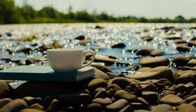 Чашка чаю, кофе, какао в воде на аисте на каменистом d Стоковая Фотография RF