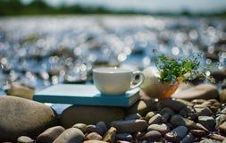 Чашка чаю, кофе, какао в воде на аисте на каменистом d Стоковые Изображения