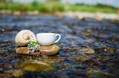 Чашка чаю, кофе, какао в воде на аисте на каменистом d стоковые изображения rf