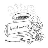 Чашка чаю нарисованная рукой Стоковое Изображение