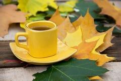 Чашка чаю на поддоннике с листьями осени на деревянном столе Стоковое Изображение