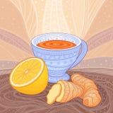 Чашка чаю с имбирем и лимоном Стоковая Фотография RF