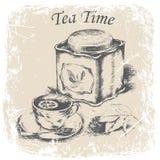 чашка чаю с лимоном, ложкой чая, коробкой чая, листьями чая в рамке grunge иллюстрация штока