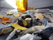 Чашка чаю с лимоном, шарфом и листьями осени Стоковые Фото