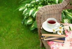 Чашка чаю с книги и стоцветы на стуле Стоковые Изображения