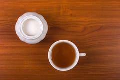 Чашка чаю с сахаром - взгляд сверху Стоковые Фотографии RF