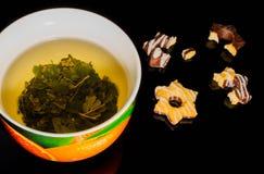 Чашка чая, горячий, зеленый, белая, чайник, вода, жидкость, Стоковая Фотография