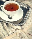 Чашка чая и книги яблока. Стоковые Фото