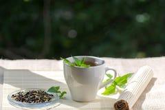 Чашка чая мяты и пук мяты на таблице Стоковое Изображение RF