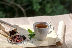 Чашка чая мяты и пук мяты на таблице Стоковая Фотография RF