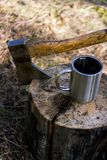 Чашка чая оси и чашки на пне из природы стоковые фотографии rf
