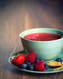 Чашка чая плодоовощ с клубниками, полениками Стоковая Фотография