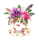 Чашка чая Boho - розовые цветки, винтажные пер Акварель Teatime иллюстрация штока