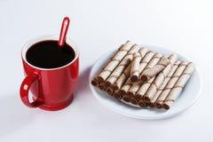 Чашка черного кофе, печений, сладостных ручек Стоковая Фотография RF