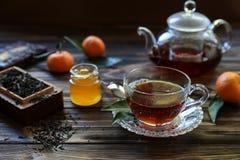 Чашка черного чая, листьев чая, чайника, меда и tangerines стоковые фотографии rf