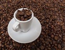 Чашка эспрессо кофе с кофейными зернами Стоковое Фото