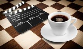 Чашка Coffe и фильм фарса Стоковые Изображения RF