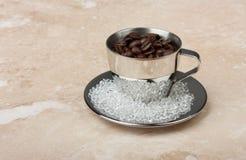 Чашка espresso нержавеющей стали с поддонником Стоковая Фотография