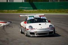 Чашка 997) GT3 Порше 911 команды Ebimotors (на Монце Стоковое Изображение