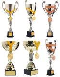Чашка ` s победителя, серебр, приз золота в конкуренции с медалью Стоковые Фотографии RF