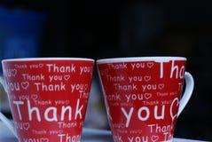 чашки благодарят вас стоковая фотография rf