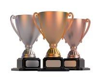 Чашки золота, серебра и бронзы Стоковое фото RF