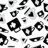 Чашки и карточки Алисы Безшовная, белая предпосылка Стоковая Фотография