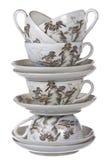 Чашки и плиты фарфора штабелированные совместно Стоковая Фотография RF
