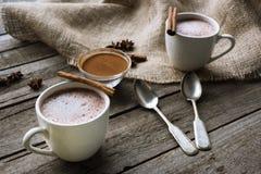Чашки какао и специй на таблице Стоковые Фото