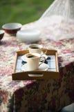 2 чашки кофе в природе в романтичной окружающей среде Стоковое Фото