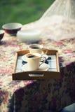 2 чашки кофе в природе в романтичной окружающей среде, crossproce Стоковые Фотографии RF
