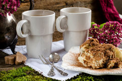 2 чашки кофе и тирамису десерта Стоковое фото RF