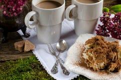 2 чашки кофе и тирамису десерта Стоковые Фотографии RF