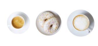 2 2 чашки кофе и donuts Стоковые Фотографии RF