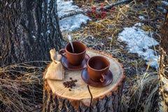 2 чашки кофе на пне Стоковые Фотографии RF