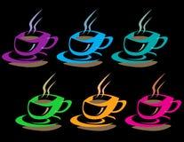 чашки кофе цветастые Стоковое Изображение RF