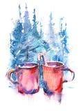Чашки натюрморта зимы горячего кофе на windowsill против ландшафта снега бесплатная иллюстрация