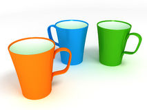 3 чашки на белой предпосылке Стоковое Изображение