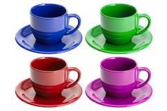 чашки опорожняют 4 изолированных поддонника Стоковое Изображение
